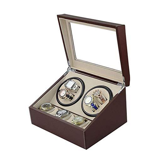 CDPC Cajas de reloj para hombre con rotación automática de madera, caja de exhibición de cuero, caja de mesa de motor, 4 6 posiciones, marrón, marrón exquisito/marrón