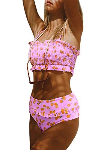Stevemary Frauen niedlich hohe Taille tr?gerlos Smocked Bikini Sets Badeanzug Badeanzug A Pink Medium