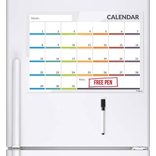 CKB Ltd - Pizarra magnética para frigorífico con planificador 31 días (tamaño grande, incluye marcadores y borrador), color blanco