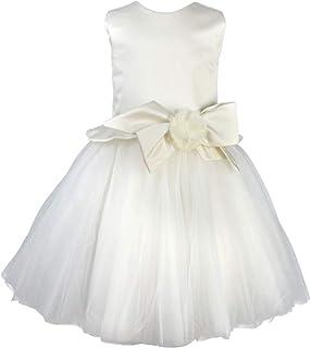 LE CHICCHE Vestido elegante de ceremonia blanco para niña ABR06