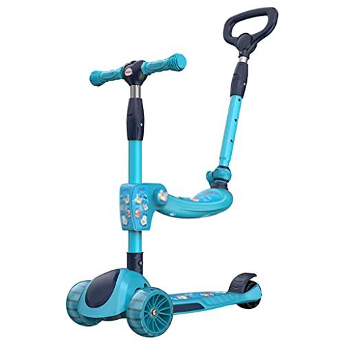 LICHUAN Scooter Scooter para niños de 2 a 12 años – Scooter plegable con asiento extraíble, 3 ruedas de luz LED, freno de rueda trasera, tabla de pie ancha y scooter de altura ajustable (color azul)