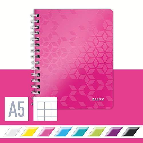 Leitz 46410023 Kollegblock WOW, A5, PP, kariert, holzfrei, 80 Blatt, pink metallic