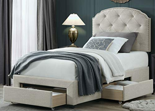 DG Casa Argo Tufted Upholstered Panel Bed Frame with Storage Drawers and Nailhead Trim Headboard, Twin Size in Beige Fabric