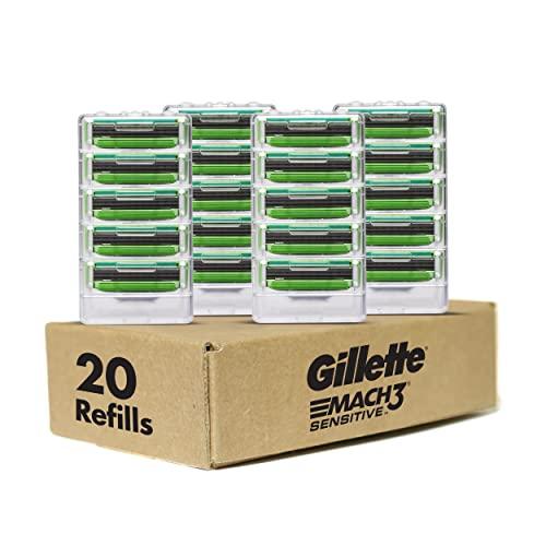 Gillette Mach3 Sensitive Men's Razor Blades, 20 Blade Refills