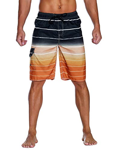 Unitop Men's Colortful Striped Swim Trunks Beach American Board Shorts with Lining Orange-42