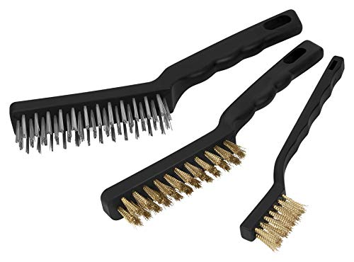 Performance Tool W1149 3-Piece Brass and Stainless-Steel Wire Brush Set