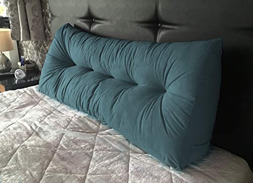 Lancashire Textiles Faux Suede Triangular Wedge Cushion - Headboard Bolster Support Pillow - Double Bed - 20 x 50 x 135cm - Serena Teal - Made in UK