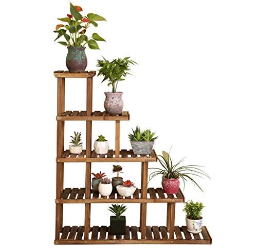 Bestting Plant Stand,Bloem Ladder Rack met Tuin Decoraties Mini Houten Ladder Plank Binnen en Buiten Stand