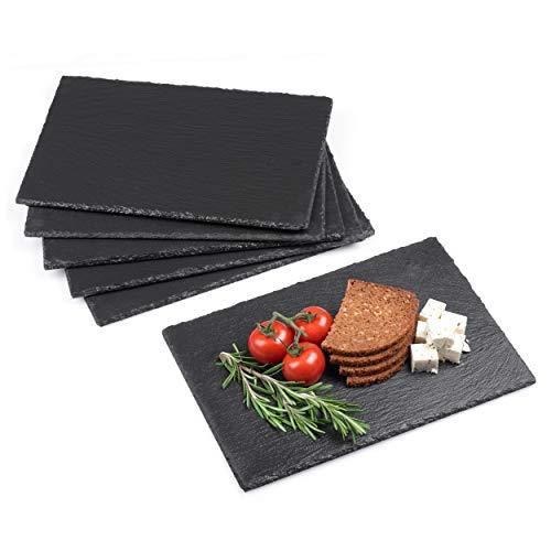 Minuma® Schieferplatten Set 6-teilig | 30 x 20 cm aus Naturgestein mit Moosgummi-Füßen zum Schutz von Oberflächen| vielseitig einsetzbar z.B. als Servierplatte oder Untersetzer | edle Naturoptik
