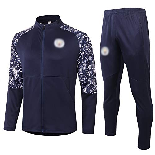 BVNGH Manchester - Traje de entrenamiento de camiseta de fútbol, manga larga 2021, transpirable, cómoda y azul real (S-XXL), talla M