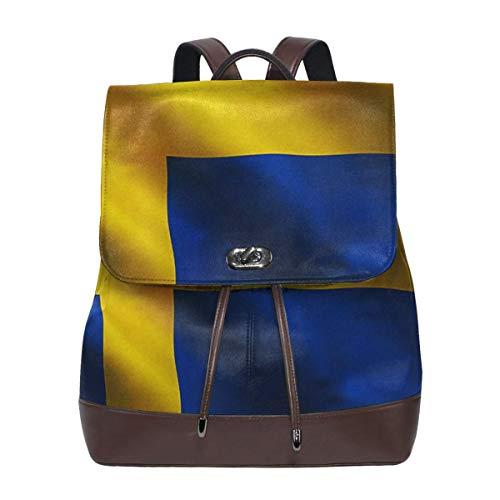 SGSKJ Rucksack Damen Schwedische Flagge Schweden patriotisch, Leder Rucksack Damen 13 Inch Laptop Rucksack Frauen Leder Schultasche Casual Daypack Schulrucksäcke Tasche Schulranzen