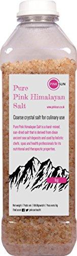 PINK SUN Roze Himalaya Zout Grof 1kg Kristallen voor Zoutmolen Puur Natuurlijk Eetbaar Voedingswaarde Grote Gegranuleerde Rotsbrokken Koken Bad Lichaam Pakistan 1000g Bulk
