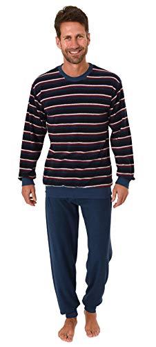 Herren Frottee Pyjama Langarm Schlafanzug mit Bündchen in Streifenoptik - 291 101 13 578, Farbe:Marine, Größe2:50