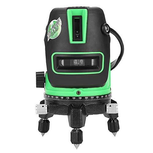 Akozon Laser Level 2/3/5 Linie selbstnivellierende grüne Linie Blendung Grüne Schale 360°Drehbar horizontal vertikales Kreuz Laserwerkzeug mit 2 Lotpunkten Magnetisch Dämpfungs Kompensator(2 Zeilen)