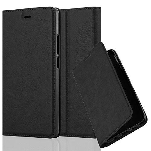 Cadorabo Hülle für ZTE Nubia Z9 MAX - Hülle in Nacht SCHWARZ – Handyhülle mit Magnetverschluss, Standfunktion & Kartenfach - Case Cover Schutzhülle Etui Tasche Book Klapp Style