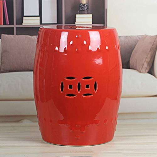 Qivor Otomano Taburetes Taburetes Taburete Taburete de trabajo Taburete de ducha Taburete de paso Jingdezhen Muelle de porcelana de estilo chino Cerámica hueca Taburete de estar Retro Agujero cuadrado