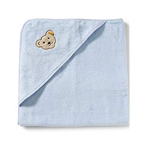 STEIFF Baby Badetuch mit Kapuze 000020312 Frottee Handtuch (ca. 100x100 blau)
