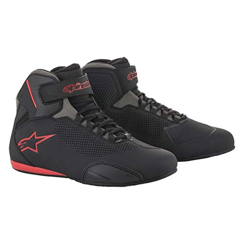 Alpinestars Men's Sektor Vented Street Motorcycle Shoe, Black/Gray/Red, 10.5