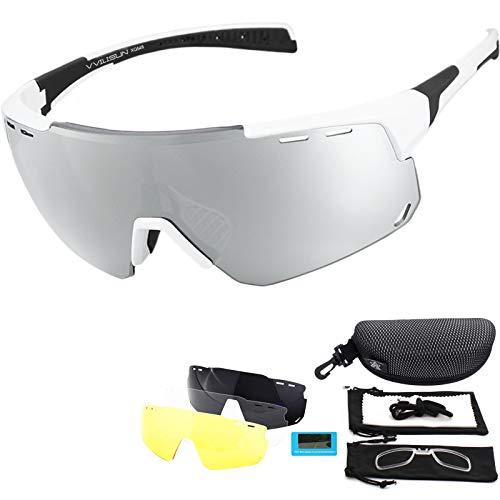 V VILISUN Radsportbrillen Polarisierte Sportbrillen Fahrradbrille UV400 Schutz mit 4 Wechselgläser Radbrillen Damen Herren, für Outdoor-Sport Radfahren Motorradfahren Laufen Angeln Golf