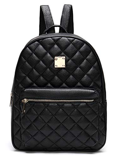 Soft Vegan Leather Backpack Lightweight Quilted Purse Stylish Travel Daypack for Women - Black - One Size