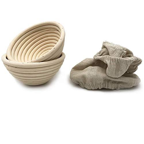 5 Inch Round Banneton Bread Proofing Basket 2 pcs Natural Rattan Cane Brotform Handmade& Linen Liner Cloth