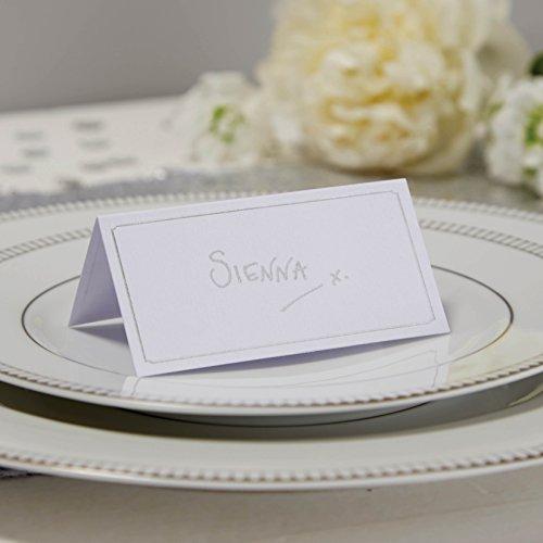 ginger ray Blanco y Plata–Juego de Tarjetas de Lugar x 10–metálico Perfection