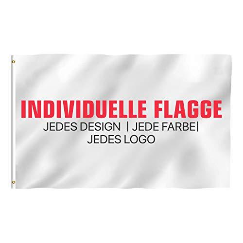 Howar Personalisierte Fahne mit individuellen Design | Flagge selber gestalten mit Text Logo und Bild Werbefahne Werbeflagge (100x70 cm (Mastseite Links))
