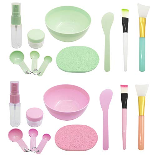 DIY Facemask Mixing Tool Set,DanziX DIY Face Mask Mixing Bowl Kit with Silicone Brushes Facial Mask Bowl Stick Spatula Spray Bottle(Green&Pink,2 Set,10 In 1)