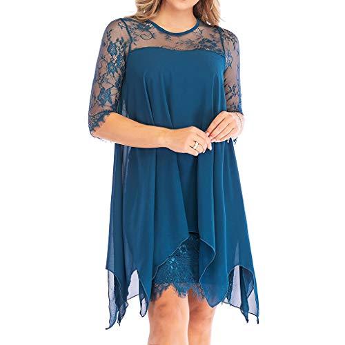 Damen-Kleid aus Chiffon, Dreiviertelärmel, Spitze, Übergröße, S-5XL - Blau - 5X-Groß