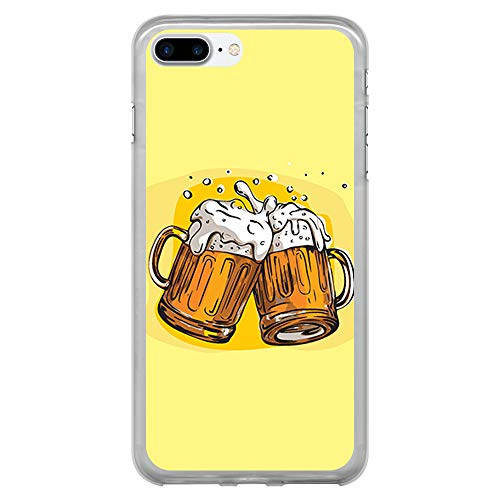 BJJ SHOP Funda Transparente para [ iPhone 7 Plus/iPhone 8 Plus ], Carcasa de Silicona Flexible TPU, diseño : Jarras de Cerveza, Salud