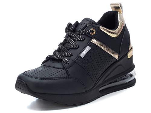 XTI - Zapatilla para Mujer - Cierre con Cordones - Color Negro - Talla 40