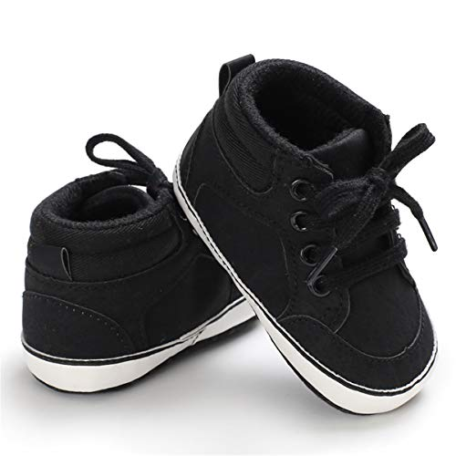 KaKaKiKi Baby Girls Boys Ankle Sneakers Shoes Soft Sole Toddler First Walker Infant High-Top Newborn Crib Shoes 02 Black+lace 3-6 Months Infant