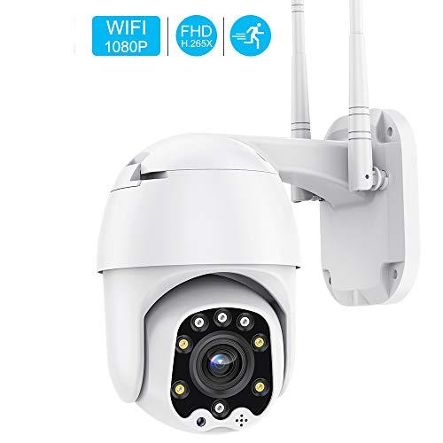 Telecamera di Sorveglianza IP PTZ Dome,1080P WiFi Esterno Senza Fli Telecamera, AI Rilevamento Umanoide, Visione Notturna, Audio a 2 Vie, IP66 Impermeabile, Supporto Camhi