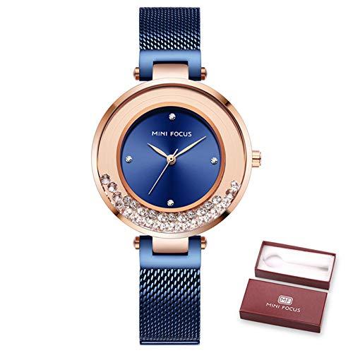 Mini Focus Reloj Mujer, Simple Pulsera de Acero Inoxidable Relojes de Pulsera de Cuarzo Reloj de Pulsera de Moda/Vestido Impermeable con Caja para Regalos para Niñas (Blue)