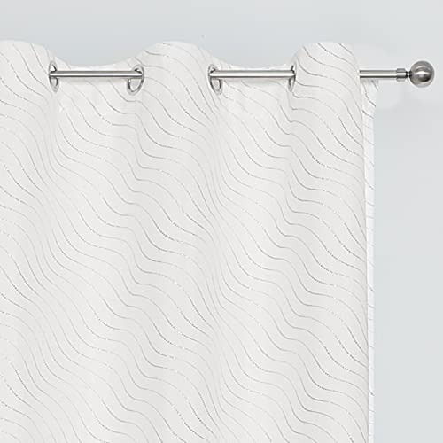 Amzdecor White Wave Line Semi-Sheer Curtains 84 Inch Long - Silver Wave Print White Curtain 2 Panels Grommet Sheer Window Curtains for Living Room, 42 x 84 Inch, 1 Pair, White Silver