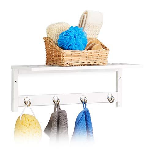 Relaxdays Wandregal mit 4 Haken, HxBxT: 17,5 x 50 x 16 cm, Bambus, Handtuchhalter, Wandgarderobe, freischwebend, weiß