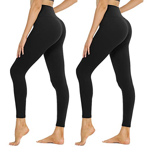 SYRINX High Waisted Leggings for Women 1/2 Pack Soft Athletic Pants for Running Workout (Black/Black01, Small-Medium)