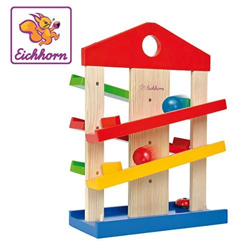 Eichhorn Kugelbahn-Haus, 4-teilig, bunte Rollbahn aus Holz mit Glocke und drei Kugeln Lindenholz, Motorikspielzeug für Kinder ab 1 Jahr, Größe: 25x34 cm