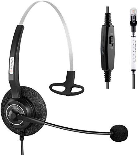 Arama Telefon Headset RJ9 Verdrahtet Call Center Headset mit Noise Cancelling Mikrofon für Festnetztelefone Avaya Plantronics Polycom Mitel Siemens Aastra Alcatel Lucent Nortel Gigaset(A200SM)