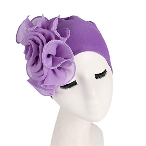 ZSZJ Bufanda de Seda Mujer Hermosa Flor Turbante paño elástico Cabeza Gorra Sombrero para Las señoras Accesorios para el Cabello de Las Mujeres Hijabs de Las Mujeres Tapa Bufanda de Babero