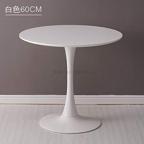 Eettafel LKU Moderne eettafel 60 cm kleine ronde tafel verkoopkantoor onderhandeling receptie receptie, Wit diameter60cm