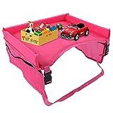 Mesa en la Asiento de Coche infantil, bandeja del coche Bandeja de almacenamiento para asiento de coche Bandeja De Viaje para niños(Red)
