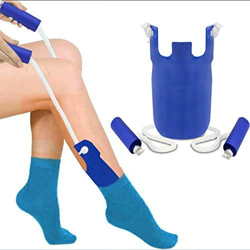 Strumpfanzieher Socken Anziehhilfe,Sock Slider Sockenhilfe Aid Helper Socken Anziehhilfe und Ausziehhilfe Strumpfanziehhilfe easy on/off Socke Anziehen und Ausziehen Werkzeuge (b\'lau)