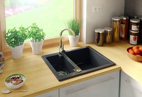 Preisvergleich Produktbild Granitspüle mit Siphon Paris Einbauspüle Spülbecken Schwarz Küchenspüle Unterschrank Küche ab 45cm Antibakteriell Spüle aus Granit mit Ablaufgarnitur Drehexcenter und Überlauf von Primagran