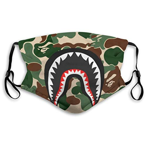 Messioutlet Face Mask Camo Shark Mouth Cover Bandana Anti-dust for Men Women Kids