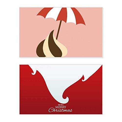 Weihnachtskarte mit Sonnenblende, Schokolade, Süßes Eis