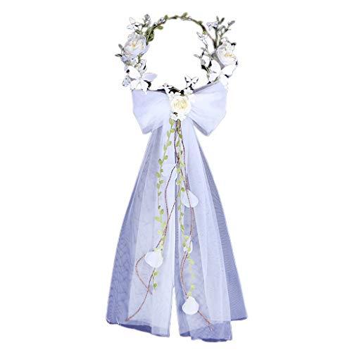 JHD Frauen Bow Garland Kopfschmuck Handgestrickte Braut White Rose Brautkleid Zubehör Fotografie Kopf Schleier