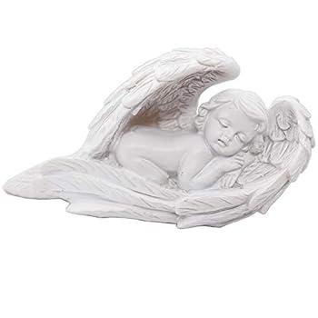 Sleeping Baby Angel Statue Cherub in Wings Feathers Statue Figurine Indoor Outdoor Guardian Home Garden Angel Sculpture Statuette Shelf Sitter Angel Collection Angel Wings Memorial Angel Statue