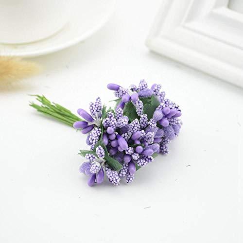 Künstliche Blume 12Pcs Mulberry Silk Party Beere Staubblatt Blatt Günstige Künstliche Blumen Dekoration DIY Kopf Kränze Corsage Gefälschte Blume Hochzeit Box Lila