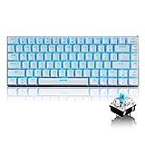 LexonElec 82 Key Mechanical Keyboard Wired USB Metal Mechanical Blue Switch Computer Gaming Keyboard with Blue LED Backlit for Computer Gamers (Blue Switch, White)